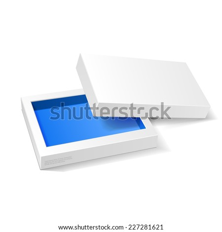 Opened White Blue Cardboard Package Box. Gift Candy. On White Background Isolated. Ready For Your Design. Product Packing Vector EPS10  - stock vector