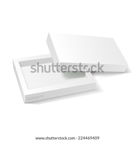 Opened White Cardboard Package Box. Gift Candy. On White Background Isolated. Ready For Your Design. Product Packing Vector EPS10  - stock vector