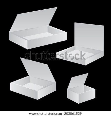 Opened White Cardboard Package Box set vector - stock vector