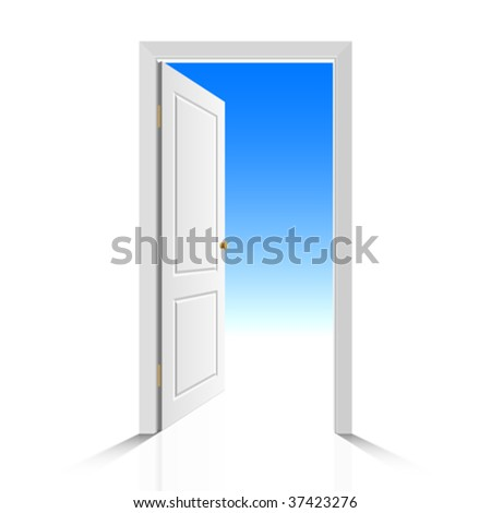 Opened white door with view on clear sky. Vector illustration. - stock vector