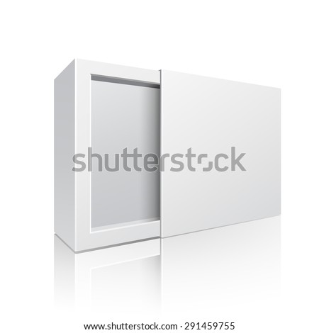 Opened White Modern Software Package Box For Your Products On White Background Isolated. Ready For Your Design. Product Packing. Vector EPS10  - stock vector