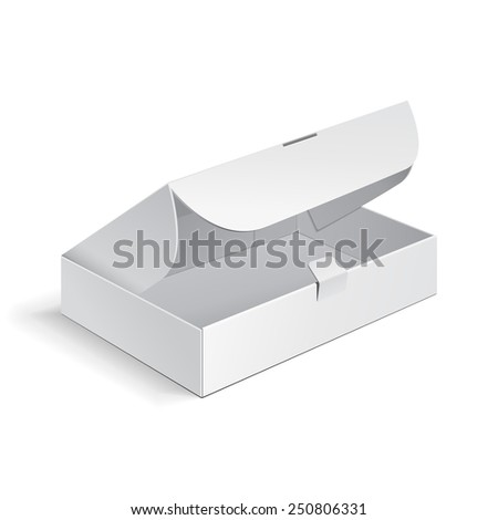 Opened White Product Cardboard, Carton Package Box. Illustration Isolated On White Background. Mock Up Template Ready For Your Design. Vector EPS10