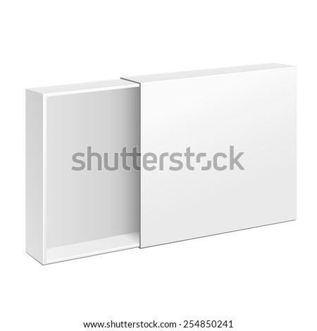 Opened White Product Cardboard Package Box. Illustration Isolated On White Background. Mock Up Template Ready For Your Design. Vector EPS10 - stock vector