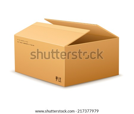 opening empty cardboard delivery packaging box isolated on transparent white background - eps10 vector illustration - stock vector