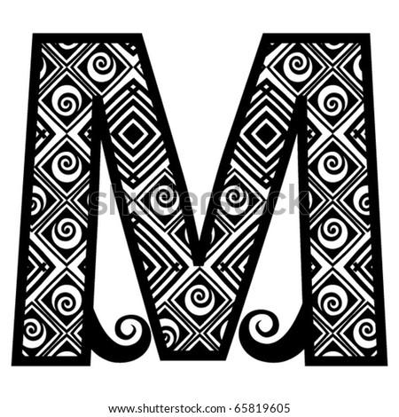 openwork alphabet, letter M - stock vector