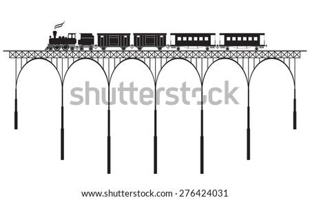 openwork bridge and locomotive - stock vector