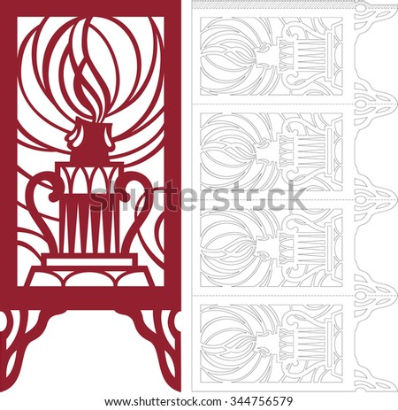 Openwork candlestick with a burning candle. Schema for cutting paper. Four-sided lantern.  - stock vector