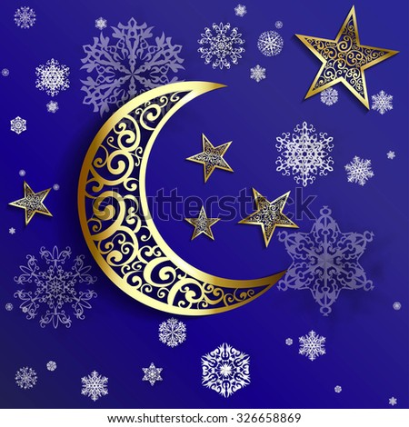 Moon star on blue background stock vector 333946370 for Blue and gold christmas