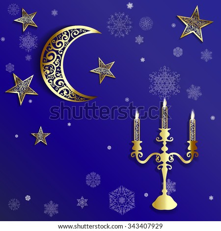 Openwork Christmas background with gold moon, star and snowlakes on dark blue