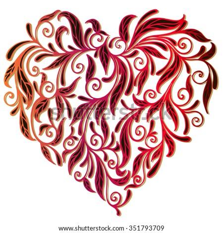 openwork heart of floral ornament - stock vector