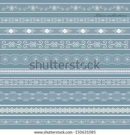Openwork white lace set. - stock vector