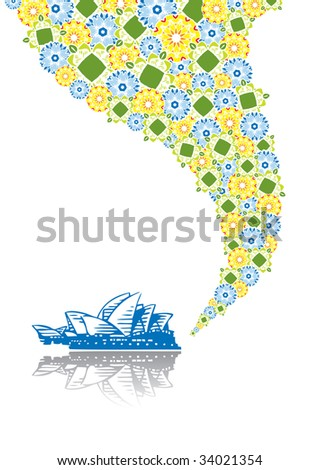 Opera of Sydney in abstract collage. Format A4. Vector illustration. Isolated groups and layers. Global colors. - stock vector