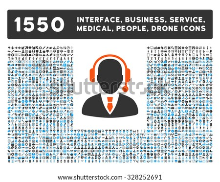 Operator and other web interface, business tools, people poses, medical service vector icons. Style is flat symbols, bicolored, rounded angles, white background. - stock vector