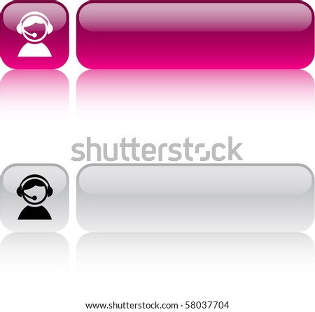 Operator glossy square web buttons. - stock vector