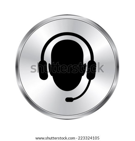 Operator in headset  icon - vector brushed metal button - stock vector