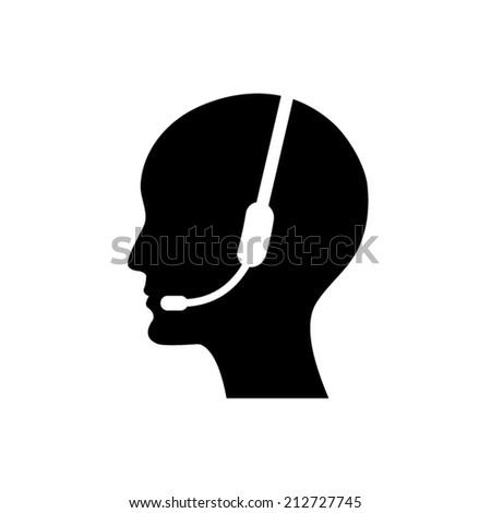 Operator in headset - Vector icon  - stock vector