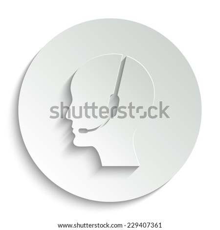 Operator in headset - vector icon with shadow on a round button - stock vector
