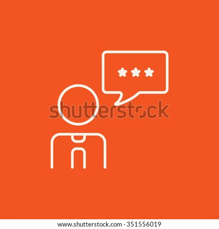 Operator of customer service with speech square line icon for web, mobile and infographics. Vector white icon isolated on red background. - stock vector