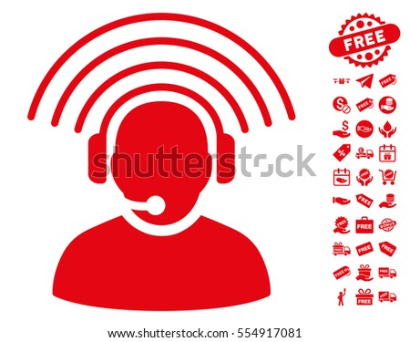 Operator Radio Signal pictograph with free bonus design elements. Vector illustration style is flat iconic symbols, red color, white background.