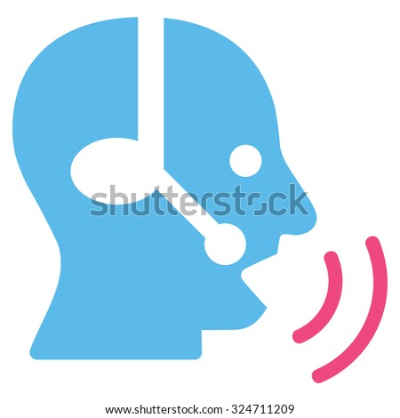 Operator Signal vector icon. Style is bicolor flat symbol, pink and blue colors, rounded angles, white background.
