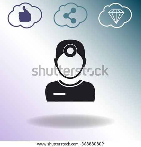 Ophthalmologist. Doctor. People at work. Medical symbol. Vector icon. - stock vector