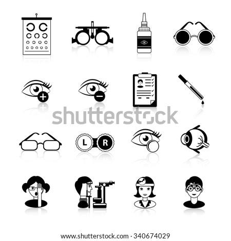 Ophthalmology black white icons set with eyesight problems symbols flat isolated vector illustration  - stock vector
