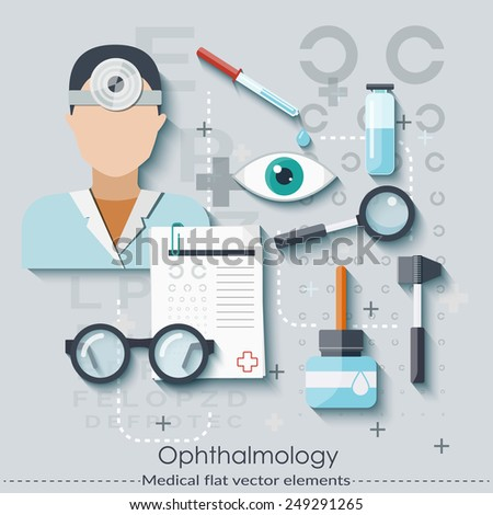Ophthalmology set in flat style.  Healthcare and medical concept. Vector illustration - stock vector