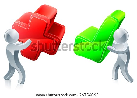 Opinion poll concept of people holding red X and green tick - stock vector