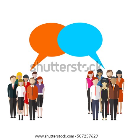 Opinion poll flat illustration of two groups of people and speech bubbles between them.