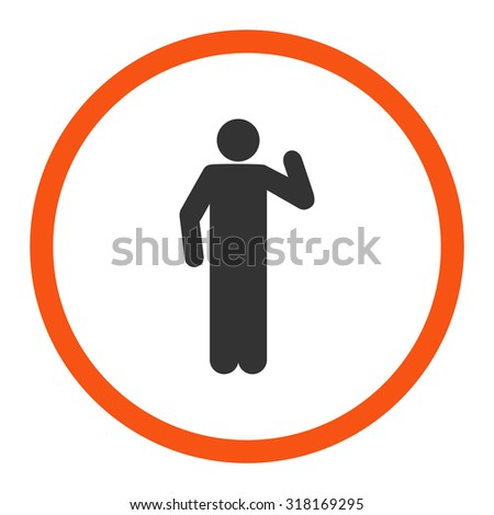 Opinion vector icon. This rounded flat symbol is drawn with orange and gray colors on a white background.