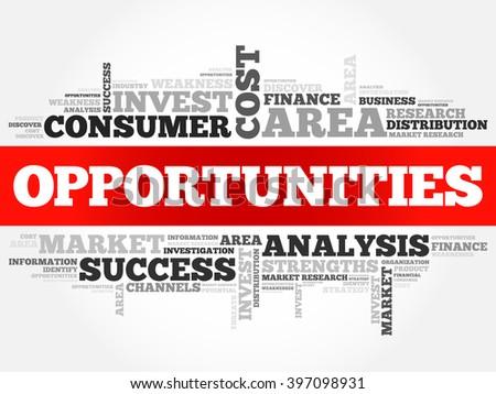 Opportunities word cloud, business concept - stock vector