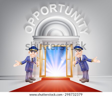 Opportunity Door concept of a doormen holding open a red carpet entrance to opportunity with light streaming through it. - stock vector