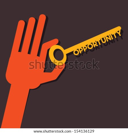 opportunity key in hand stock vector - stock vector