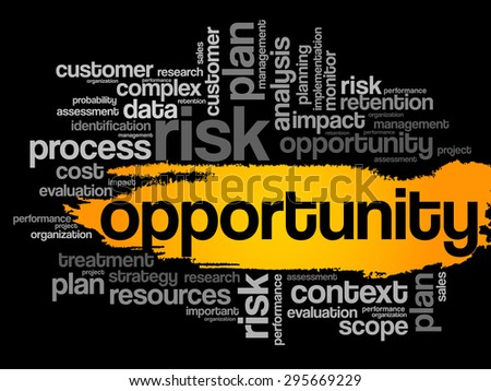 Opportunity word cloud, business concept - stock vector