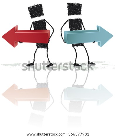Opposite directions. Two stick figures holding two large arrows. The arrows are pointing in opposite directions. EPS10 file. - stock vector