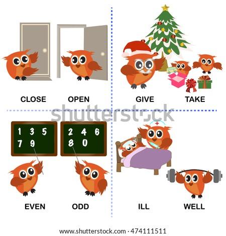 Opposite Word Vector Background Preschool Difficult Stock Vector ...