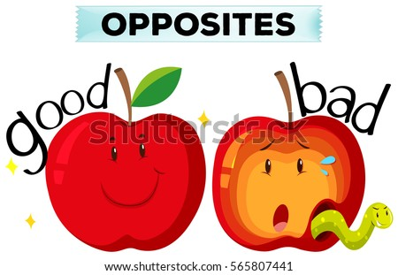 Opposite Wordcard Good Bad Illustration Stock Vector 565807441