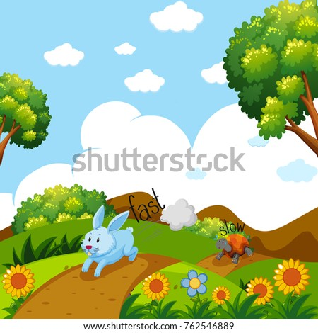 Opposite words for fast and slow with rabbit and turtle running illustration