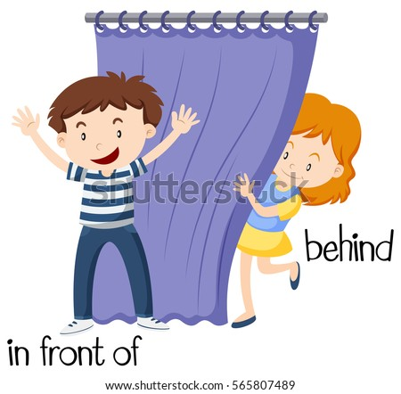 Opposite Wordcard Infront Behind Illustration Stock Vector