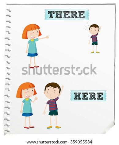 Opposite words here there illustration stock vector for There is there are pictures