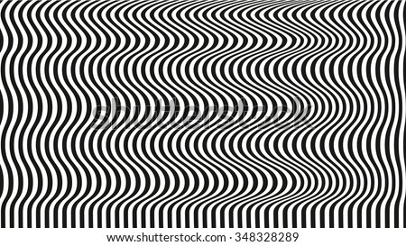 optical illusion art background. black and white desktop wallpaper. black lines on white background. graphic design. - stock vector