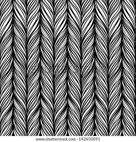 Optical illusion: Black and white abstract seamless pattern. Texture of wavy vertical stripes. Stylish abstract background. - stock vector