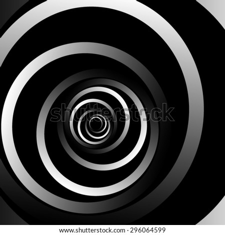 Optical illusion. Coming out of the dark bulk metallic ribbons curling striped spiral. - stock vector