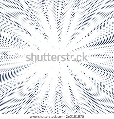Optical illusion, creative black and white graphic moire backdrop. Decorative lined hypnotic contrast background.  - stock vector