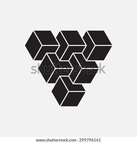 Optical illusion, cubes, geometric element, vector illustration - stock vector