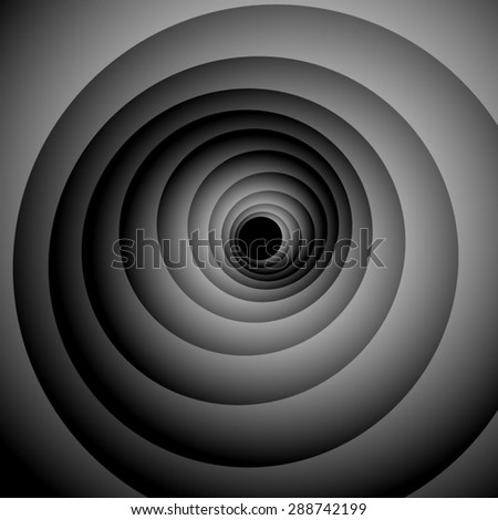 Optical illusion. Gently screwed spiral, iridescent black and white palette, disappearing into the darkness.