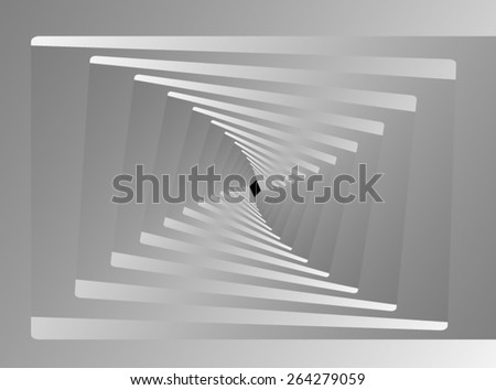 Optical illusion: gray screw down the corridor is a fractal, leading into the distance. - stock vector