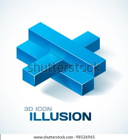 Optical illusion icon. Vector illustration. - stock vector