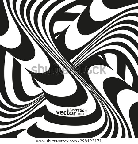 Optical illusion illustration, abstract futuristic background eps10 - stock vector