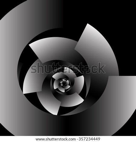 Optical illusion in the form of a round screw spiral monochrome pieces on a black background.
